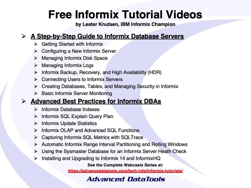Free Informix Tutorial Videos